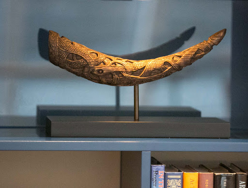 Replica of a Viking horn in the Explorers' Lounge of Viking Sun.