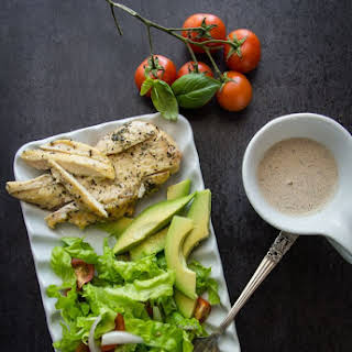 Homemade Creamy Italian Dressing with Grilled Chicken Salad.