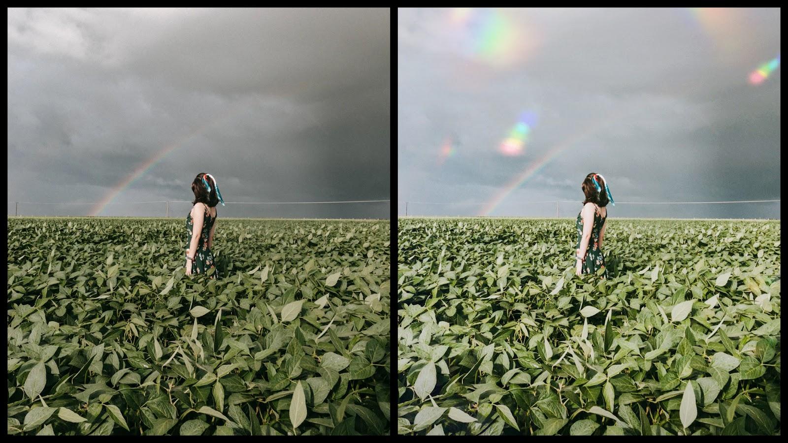antes e depois da foto de uma mulher branca sendo que em uma foto está com o filtro Rosy do AirBrush