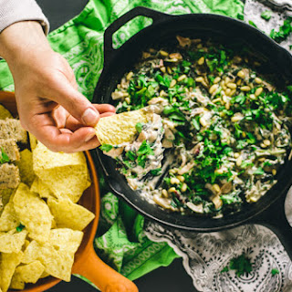 Creamy Vegan Spinach Artichoke Dip with Chard and Roasted Poblano