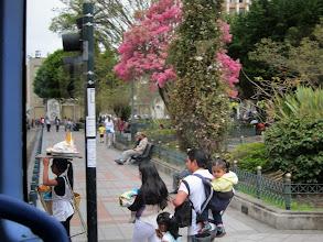 Photo: Ice cream vendor and Sunday park-goers, Parque Calderon, Cuenca