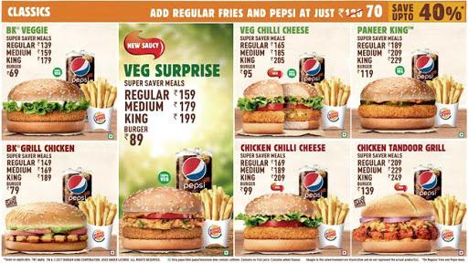 Burger King menu 1