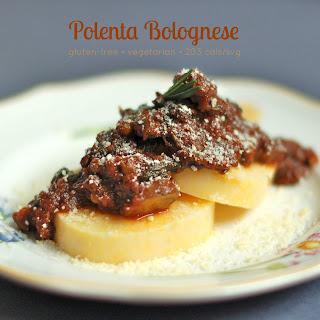 Vegetarian Lentil Bolognese over Polenta Cakes