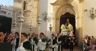 La Virgen del Mar a la salida de su procesión de alabanza.