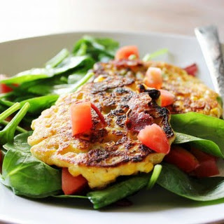 Corn Fritters with Spinach and Bacon Salad.