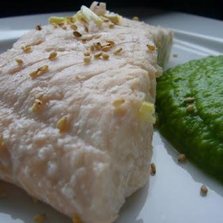 Salmon with Wasabi Pea Cream.