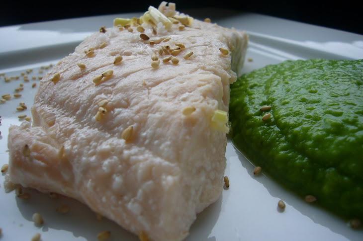 Salmon with Wasabi Pea Cream Recipe