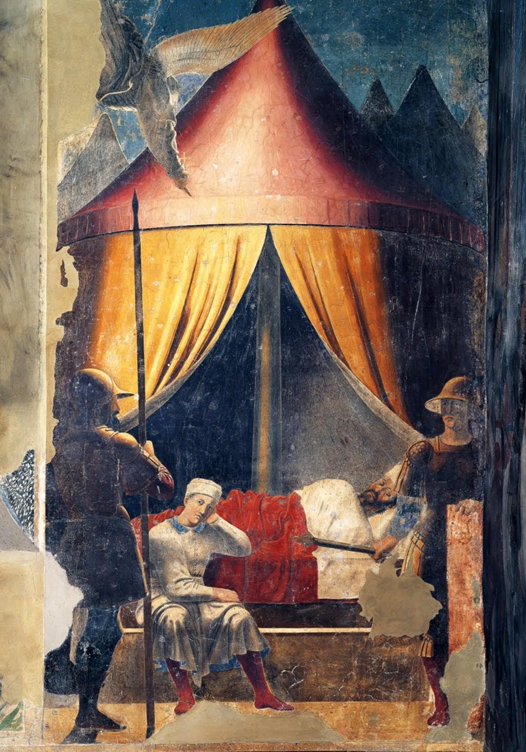 Piero della Francesca, Il Sogno di Costantino of De droom van Constantijn, Capella Bacci, Basilica di San Francesco, Arezzo