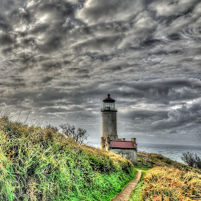 lighthouse storm brewin  by John Broughton - Landscapes Waterscapes ( lighthouse, oregon coast, dark clouds, stormy skies )