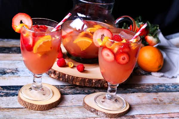 Two Glasses Of Rose Sangria.