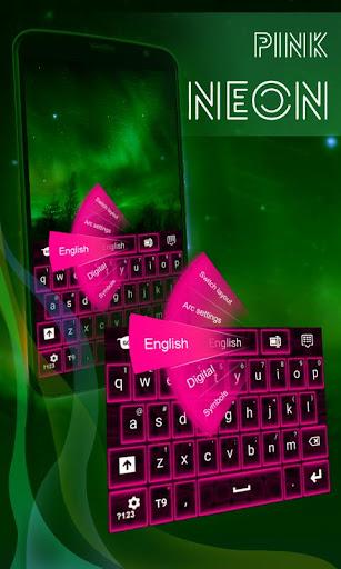 粉紅色霓虹燈鍵盤主題