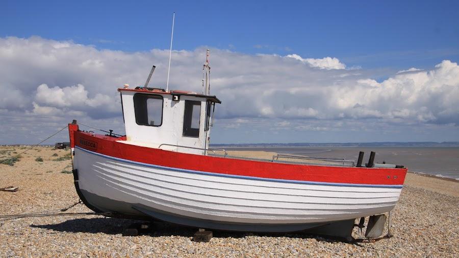 Rebecca by John Davies - Transportation Boats ( romney marsh, bleak, fishing boats, kent, pebble beach, boats, dungeness,  )