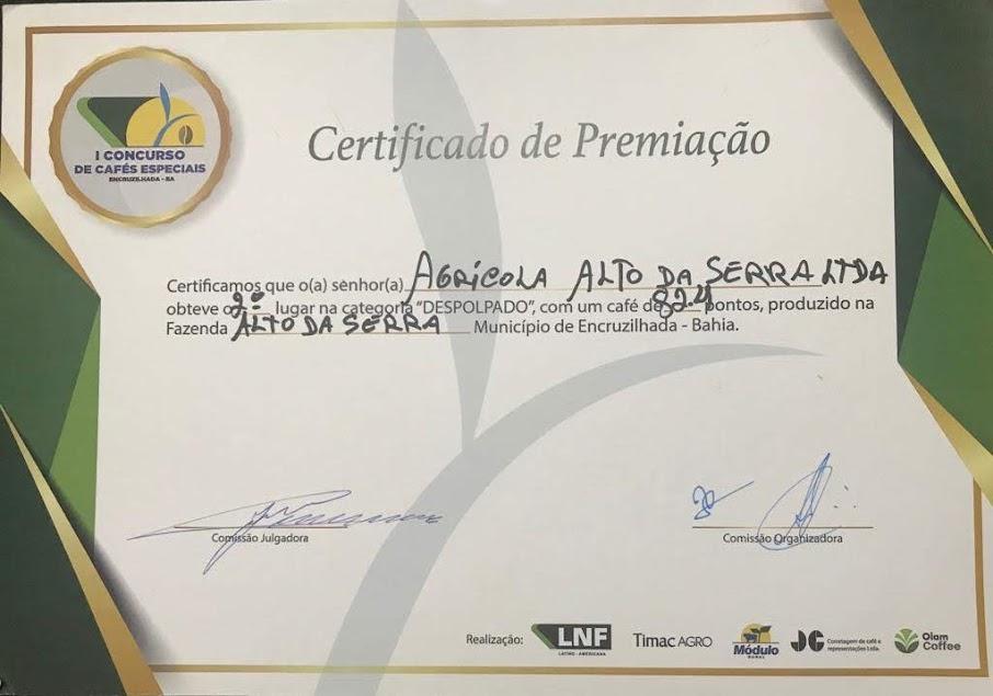 2º lugar com 82,4 pontos na categoria despolpado no Município de encruzilhada - BA