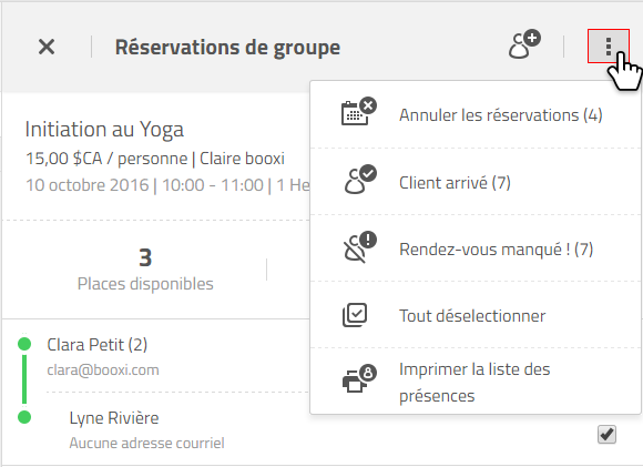 statuts de réservation de groupes