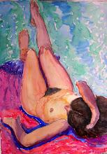 Photo: Desnudo, acuarela 100 x 70 cm, 800 €