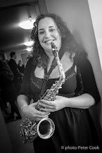 Photo: Postgraduate student and stalwart sax player, Sarah Newnham, in her final gig with the Big Band