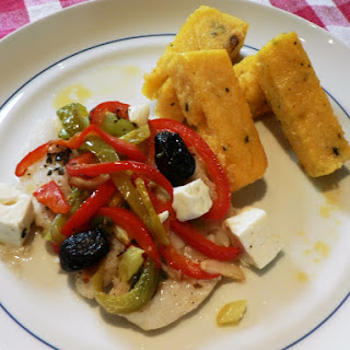 Baked Codfish with Feta Cheese and Peppers.
