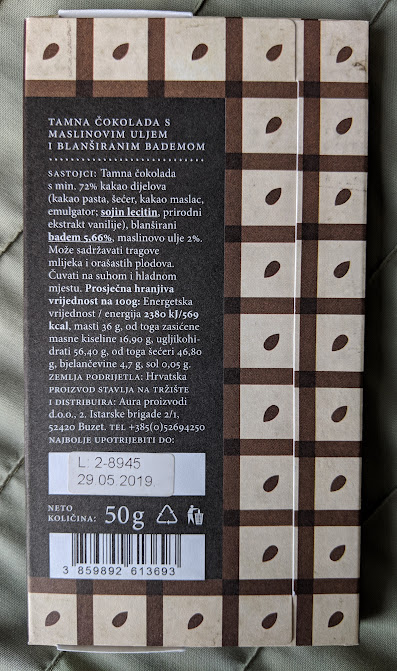 72% Olive Oil and Almonds Bar