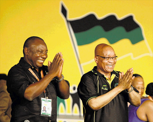 Deputy President Cyril Ramaphosa, left, and President Jacob Zuma at the ANC conference in Mangaung. File photo.