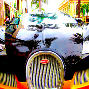 Bugatti on Rodeo Drive by Ronnie Caplan - Transportation Automobiles ( frond leaves, reflection, chrome, palm trees, bugatti, yellow, luxury, beverly hills, headlights, grille, rodeo drive, hood, black, shiny,  )