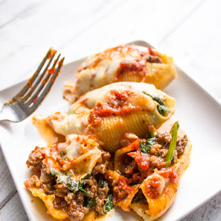 Spinach and Ground Beef Stuffed Shells.