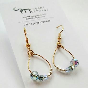 灰藍色系水晶圈耳環
