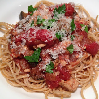 Turkey and Eggplant Ragu with Whole Wheat Spaghetti