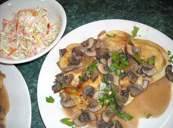 Potato And Cheese Pierogies Swimming In Mushroom Stroganoff Sauce-delish!
