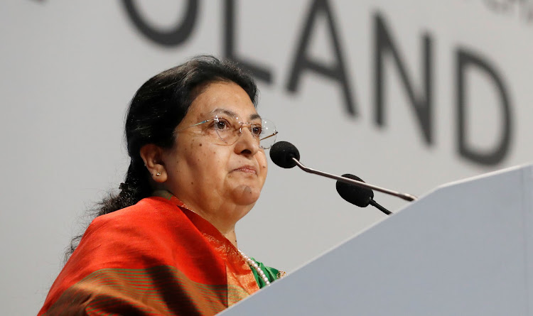 President of Nepal Bidhya Devi Bhandari speaks during the COP24 UN Climate Change Conference 2018 in Katowice, Poland December 3, 2018.