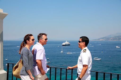 Seadream-officers.jpg - Officers and crew on SeaDream cruises are always available for information or casual conversations.