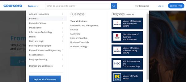 Coursera web app screenshot.