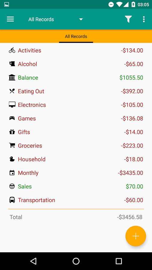 Expense Log- screenshot