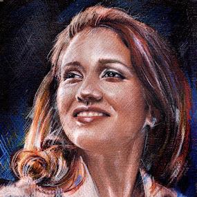 Girl portrait by Daliana Pacuraru - Drawing All Drawing ( pastel, daliana pacuraru, girl, colors, woman, canvas, drawing, portrait, pencils,  )