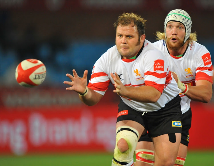 A file photo of Jacobie Adriaanse of the Lions receiving the ball during the Absa Currie Cup match between Bulls and Lions at Loftus Versfeld on September 08, 2012 in Pretoria, South Africa.