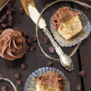 Mini Peanut Butter Cupcakes with Milk Chocolate Buttercream Frosting.