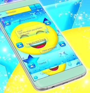 Modrá Emoji 2017 SMS Téma - náhled