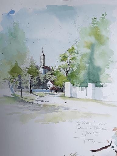 aquarelle en plein air _ Jeanne PAPA_ Chateau Landon _ Festival Les Tabarderies 2019_ seine et marne