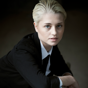 Androgynous by Antony Sendall - People Portraits of Women ( androgyny, blonde, gorgeous, tie, beautiful, androgynous, white shirt, men's clothes, stunning, portrait,  )