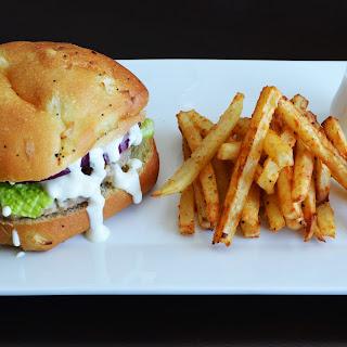 Feta Turkey Burger with Garlic Aioli Sauce.