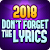 Don\'t Forget the Lyrics 20  file APK Free for PC, smart TV Download