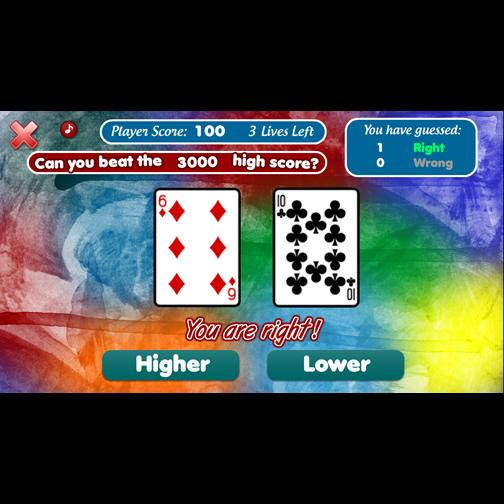 The Higher or Lower Card Game- screenshot