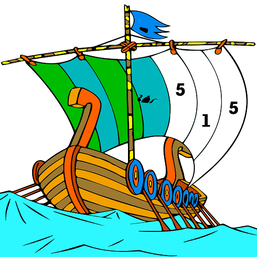 Ships Color by Number - Aquatic Vehicles Coloring Icon