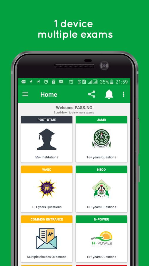 PASS.NG (JAMB UTME 2018, Post-JAMB, WAEC, NECO)- screenshot