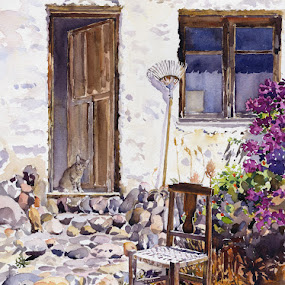 Cat in the doorway by Margaret Merry - Painting All Painting ( farm, chair, watercolor, cat, art, andalucia, door, prints, watercolour, painting, almeria, spain )