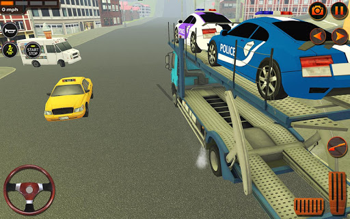 City Police Car Transporter Truck: Trailer Driving apktram screenshots 4