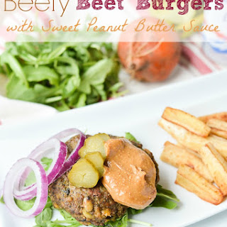 Beefy Beet Burgers with Sweet Peanut Butter Sauce