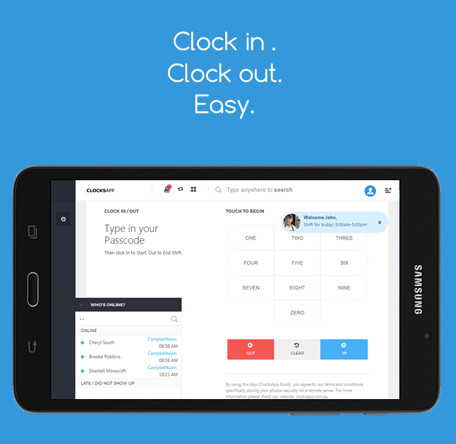 ClocksApp Kiosk | Clockins- screenshot
