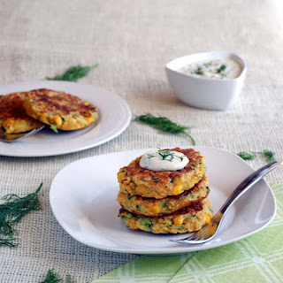 "Zucchini Corn Fritters with Dilled Cashew ""Sour Cream"""