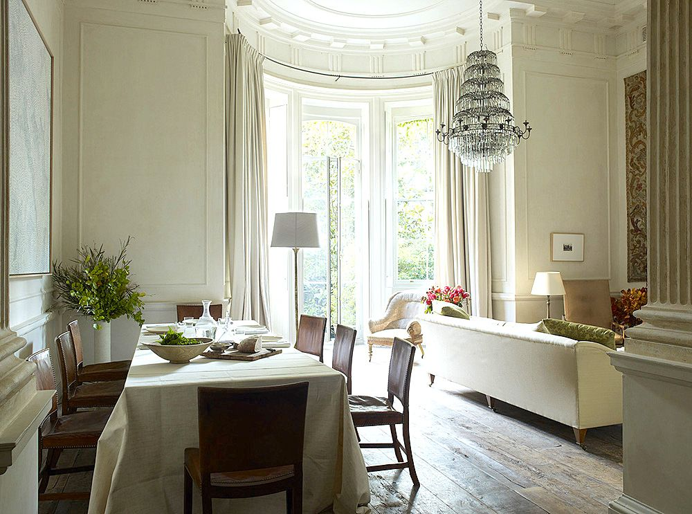 The Living Dining Room With Bay Windows That Overlooks Back Gardens Off Entrance To Is A Pair Of Columns