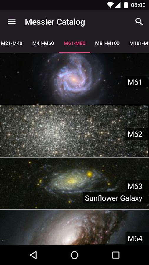 Messier Objects- screenshot